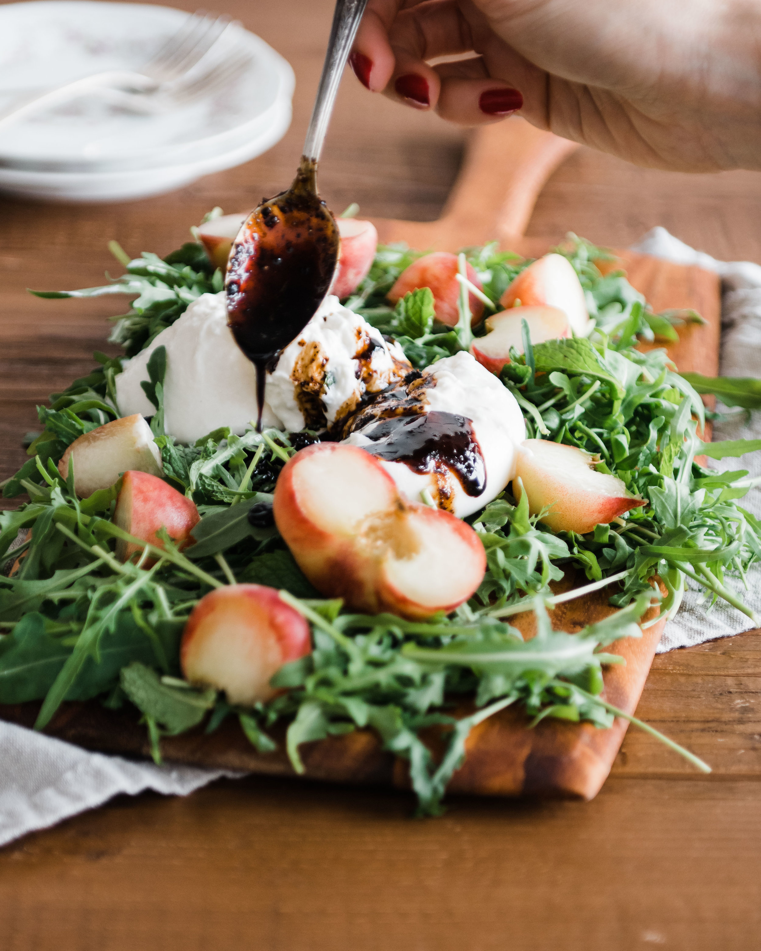 Peach, Mint and Burrata Salad with Sumac Balsamic Glaze