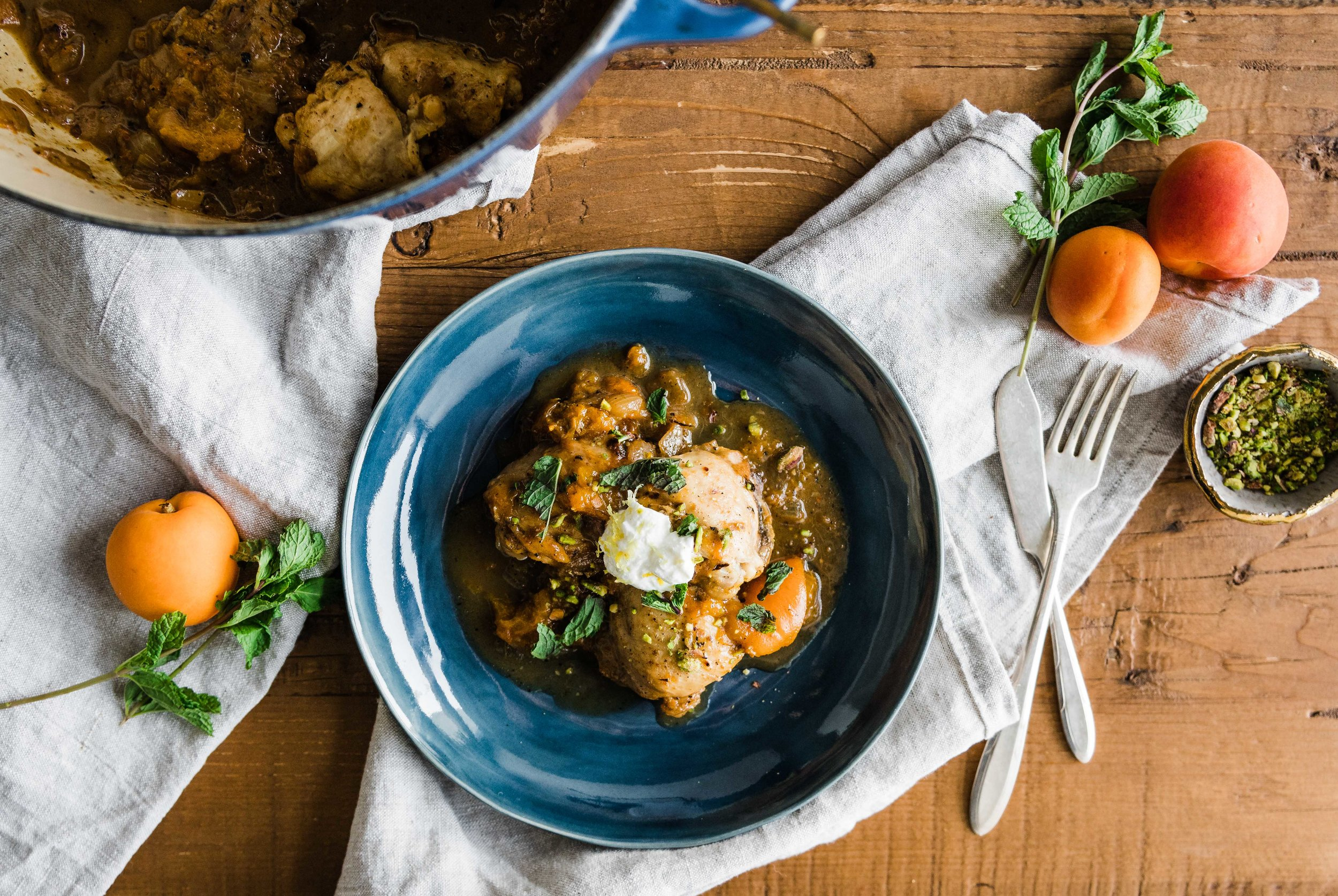 Apricot Chicken with Rosemary and Lemon Zested Yogurt