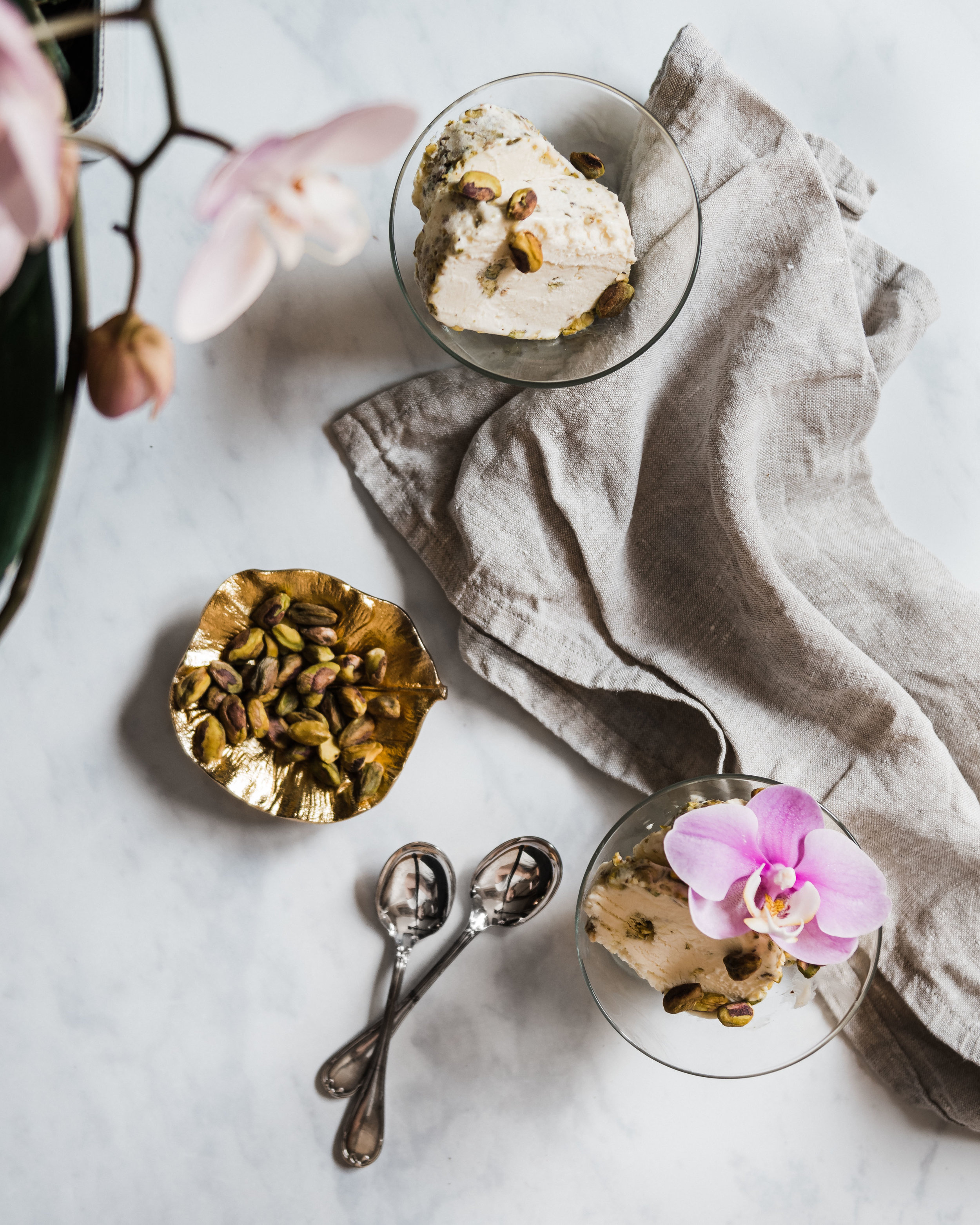 Syrian Mastic Ice Cream with Pistachios (Bakdash)