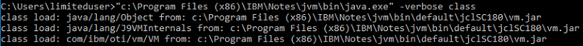 Figure 6: First few classes loaded by the installed java runtime.