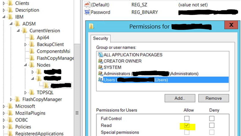 "Above is shown the specific permission setting in the registry, where basic users are allowed Read permission to highly sensitive information (the ""Node Password"" value)."