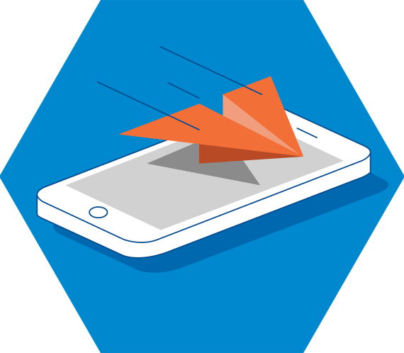 Illustration of paper airplane flying from a mobile phone