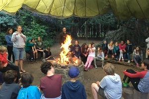 Christian adventure holiday campfire activity at Viney Hill