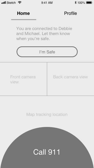 Once you have shared your location and camera views with friends, you'll want to send them a confirmation that you're safe. We've also kept the Call 911 button on the screen in the unfortunate event that there is an emergency.