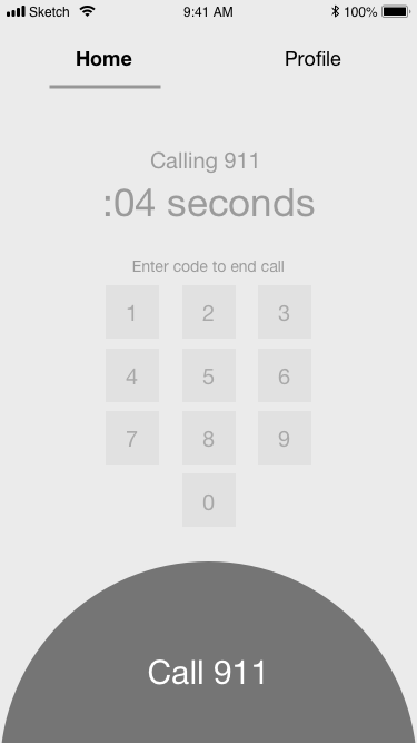 "After you tap ""Cancel Call"" on the previous screen, you will be taken to this screen to enter your unique code.  After realizing that users had confusion about the purpose of the keypad, we changed the buttons to squares so they wouldn't look like an iPhone keypad. Testers responded well to the change."