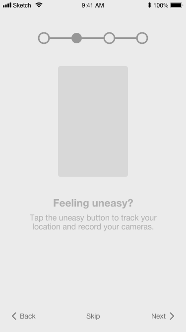 "FEELING UNEASY: GIF showcasing the appropriate user behaviors will be visible. The user can continue through the process by tapping on the ""Next"" button."