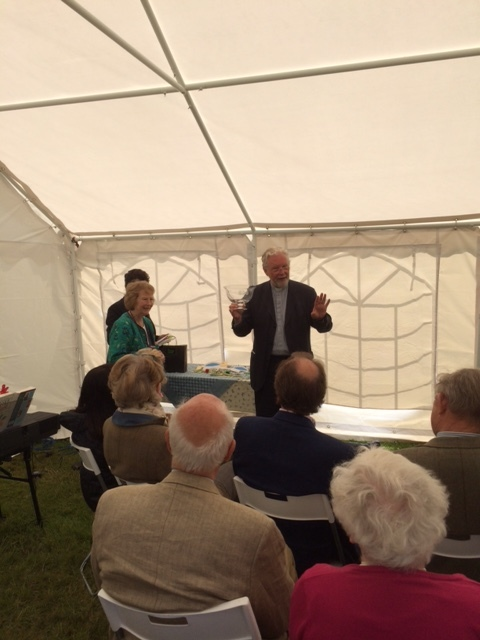 During the Broadwell Village Service a packed audience in the marquee on the Village Green watched as Serena received her presentation and farewell from Revd Richard Rendall.