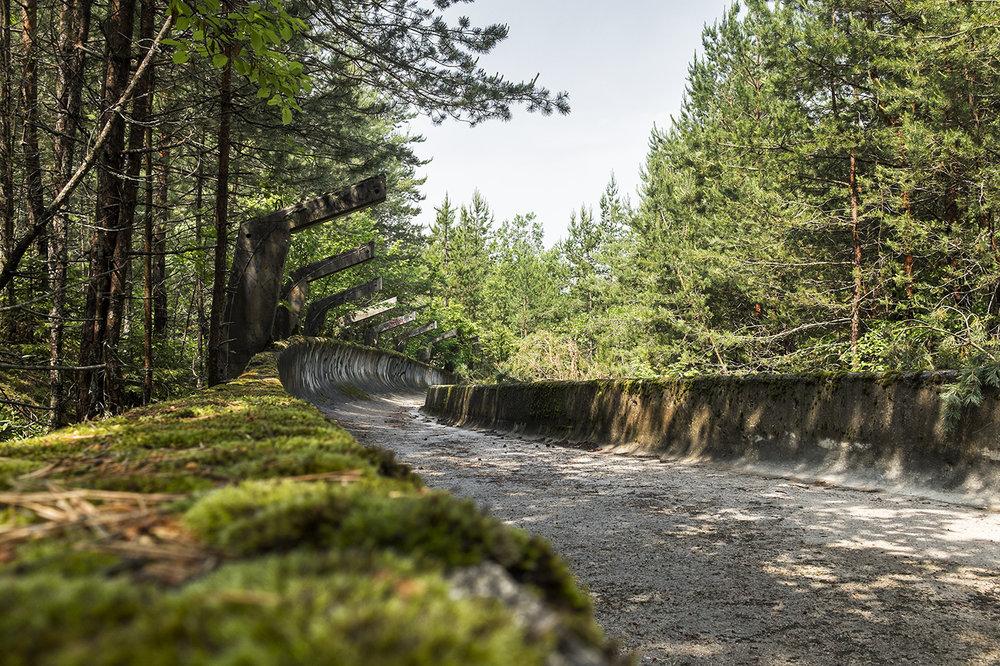 Overgrown track walls