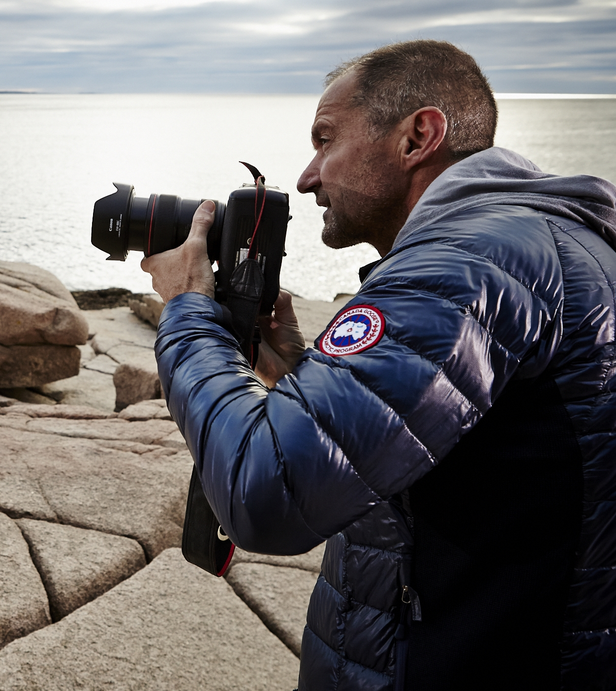 Philip North-Coombes on location for Sebago in Maine USA.