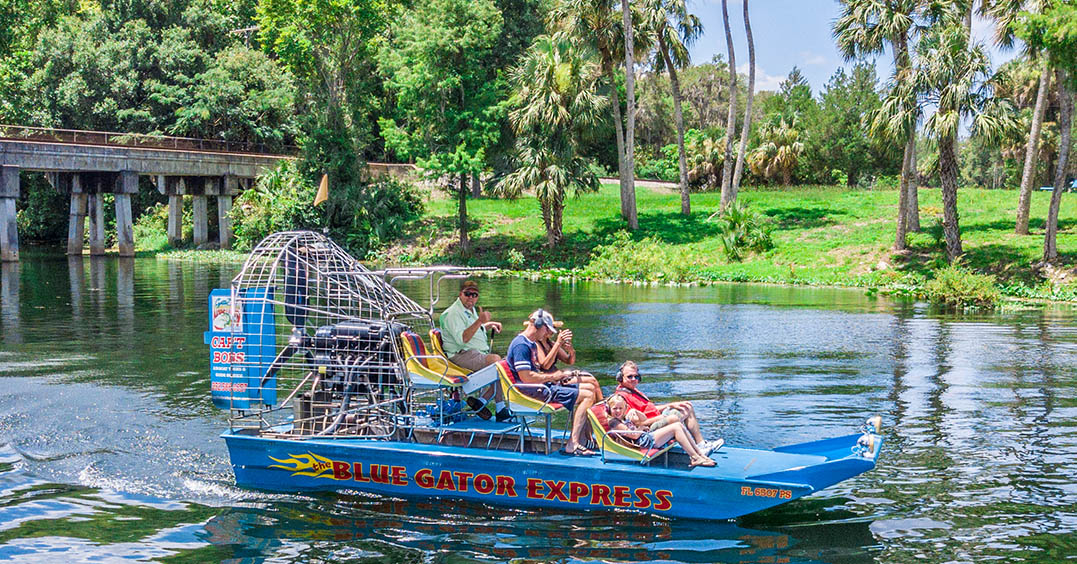 Take a ride with Capt. Bob Jewett on the Blue Gator Express.