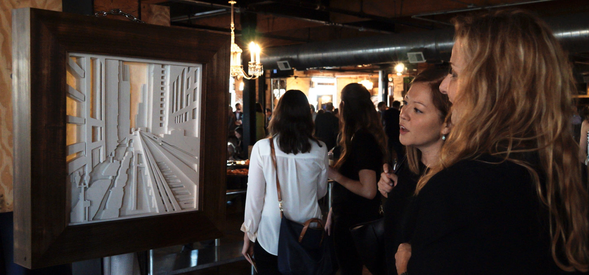 The framed and backlit piece was displayed at the Chicago Artists Showcase at Salvage One and later donated via raffle.