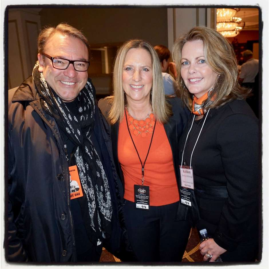 Stanlee Gatti at the Giants Play Ball lunch with Gump's devotees Meagan Levitan (center) and Kathleen Dowling McDonough.