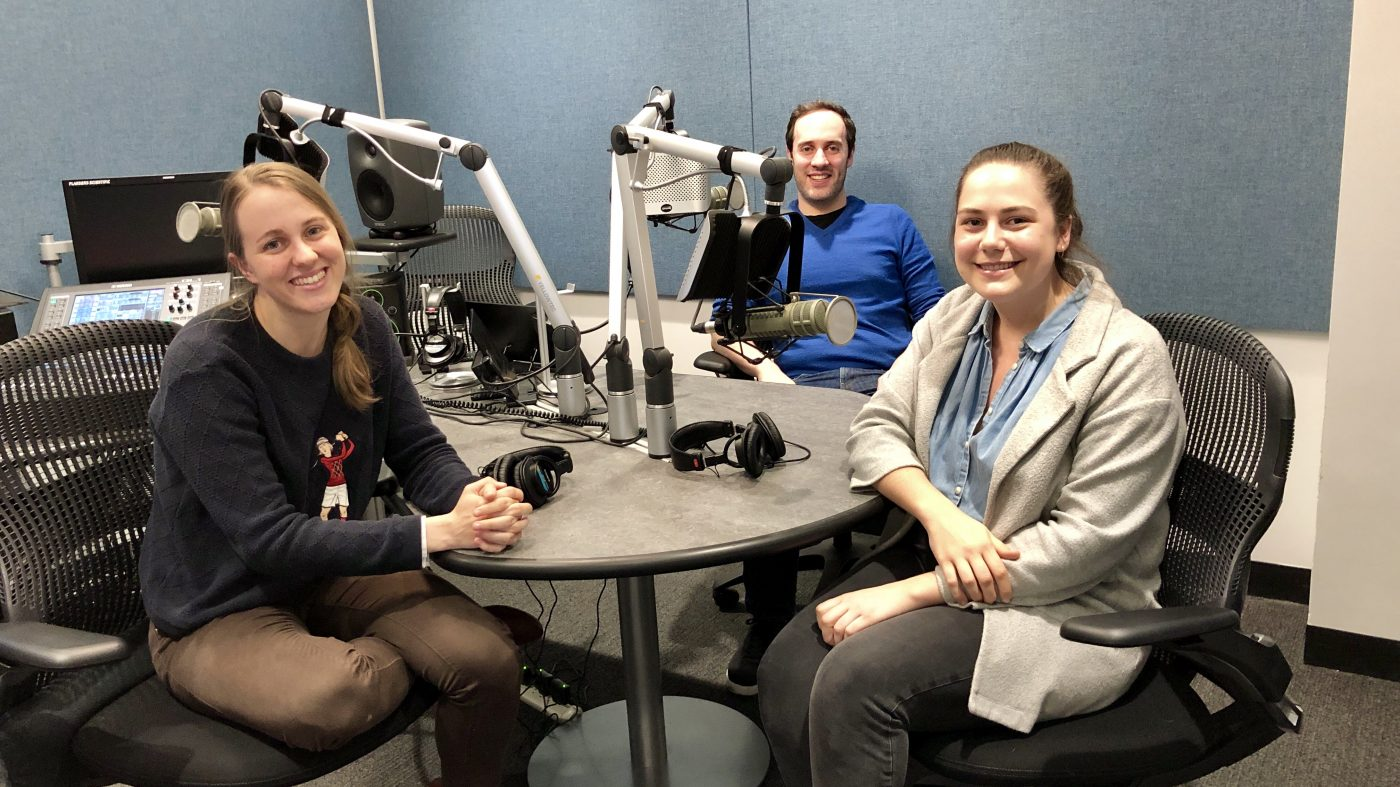 Sarah Wyman (left), Dan Bobkoff, and Jennifer Sigl in the studio.
