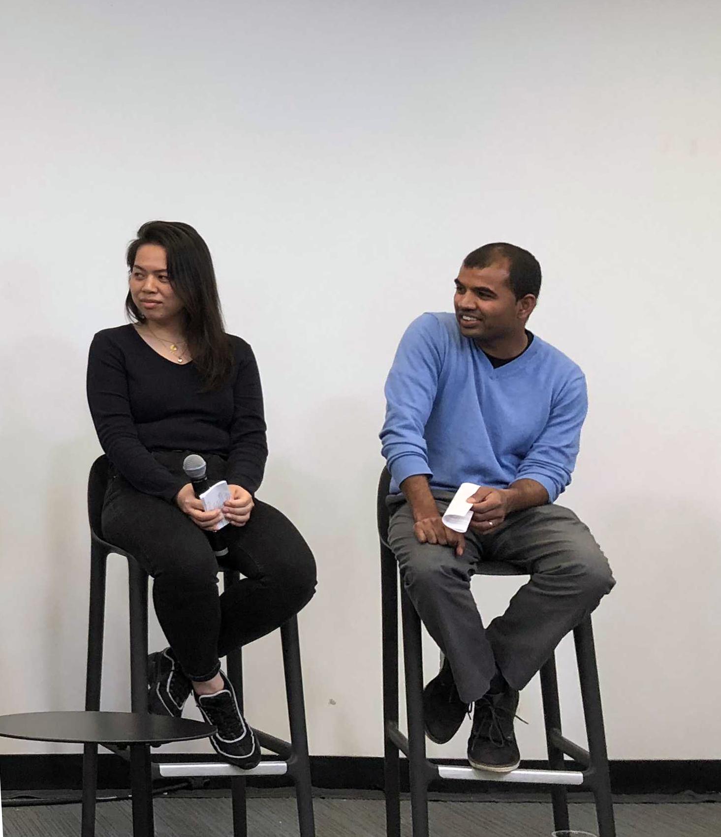 From left: Sam Lee (Senior Graphic Designer), Paulas Bhatt (Director of Program Management)