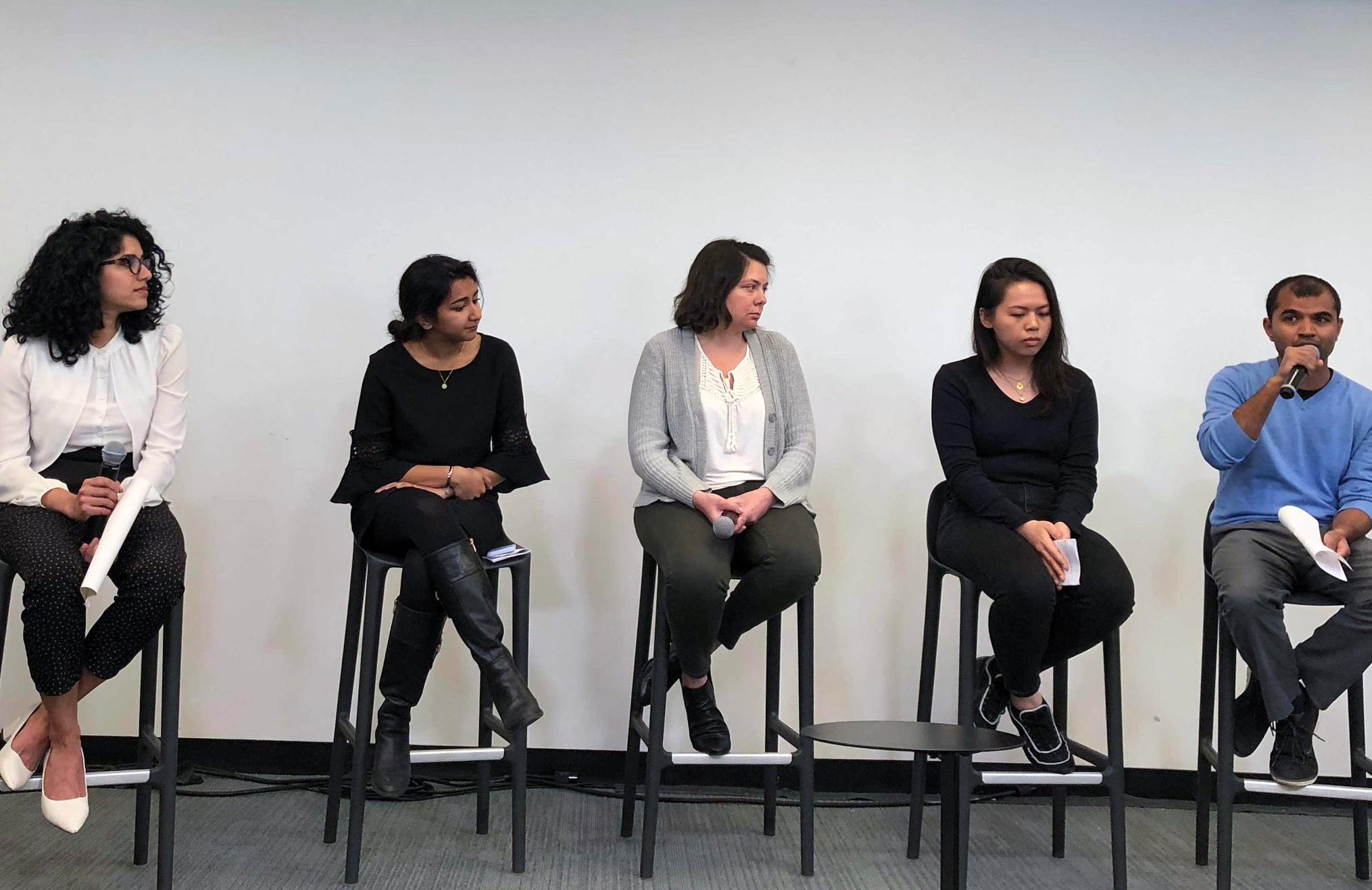 From left: Chaithra Rao (Senior Manager of Test Engineering), Medha Imam (Associate Producer), Margaret Bowani (VP of Talent), Sam Lee (Senior Graphic Designer), Paulas Bhatt (Director of Program Management)