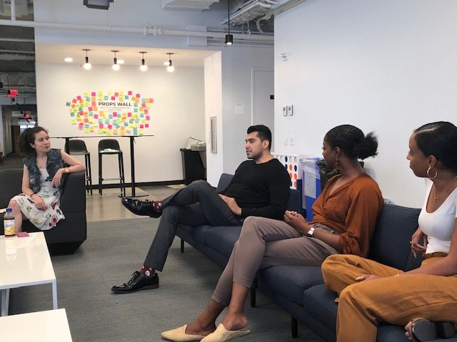 From left:  Melanie Naranjo  (Director, People & Culture),  Josh Vasquez  (Account Director for Sales),  Marisa Palmer  (Video Producer for Insider),  Cheyenne Dean  (Account Manager for BI Intelligence)