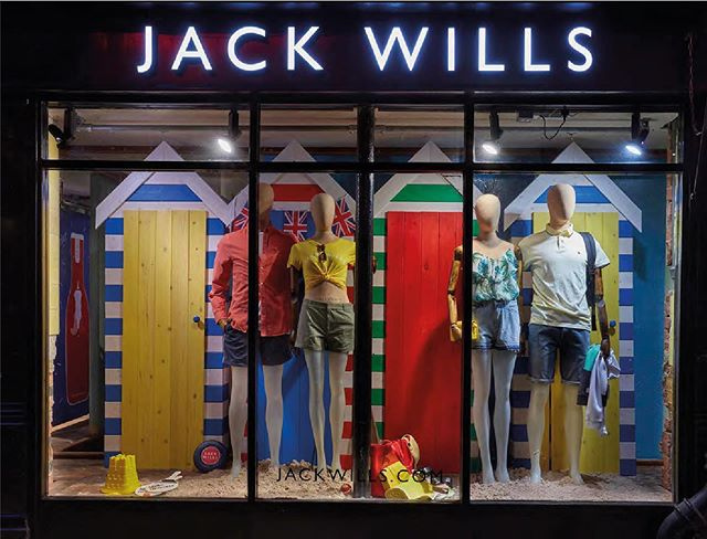 We have that summer feeling with this #throwbackthursday Jack Wills beach hut retail window.  #storefronts #retailwindows #welovecolour #summerfeeling #beachhuts