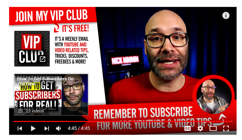 Excellent examples of youtube end-screen call-to-actions.