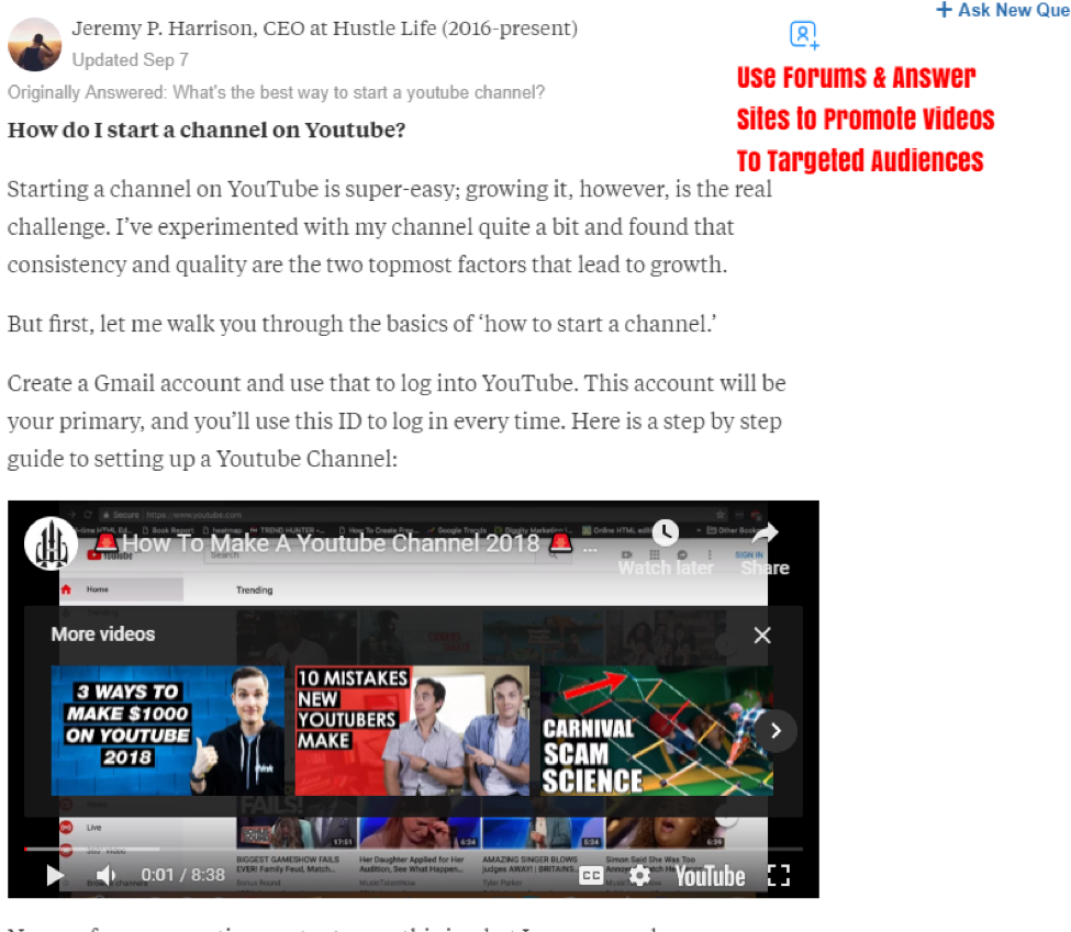 How to promote your youtube videos.