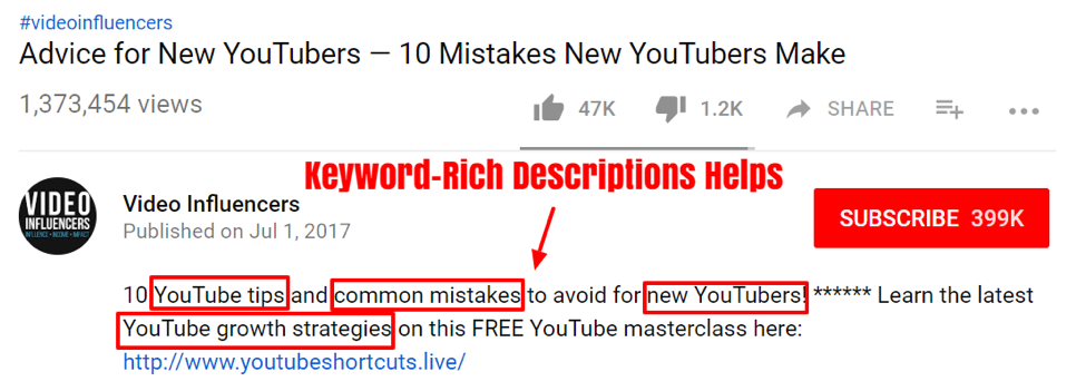 how to use keywords in youtube descriptions.