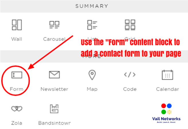 How to create a contact form on squarespace.