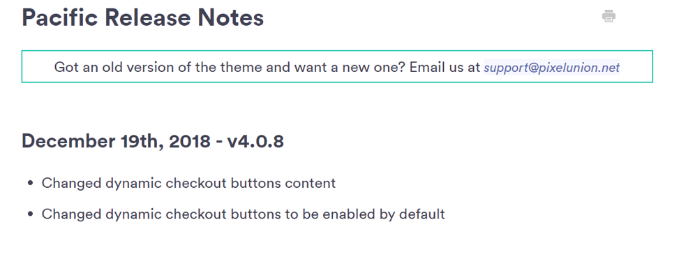 developer updates to shopify themes.