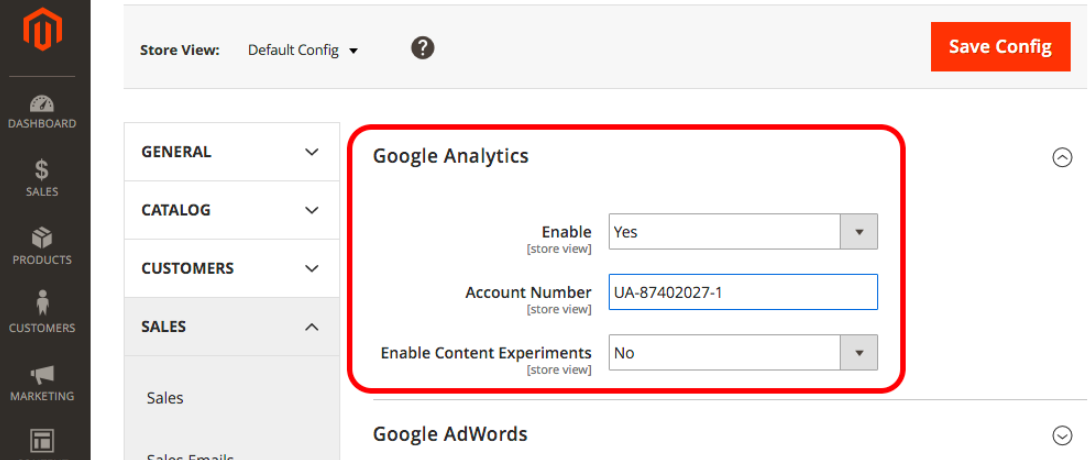 how to add and configure google analytics and magento.