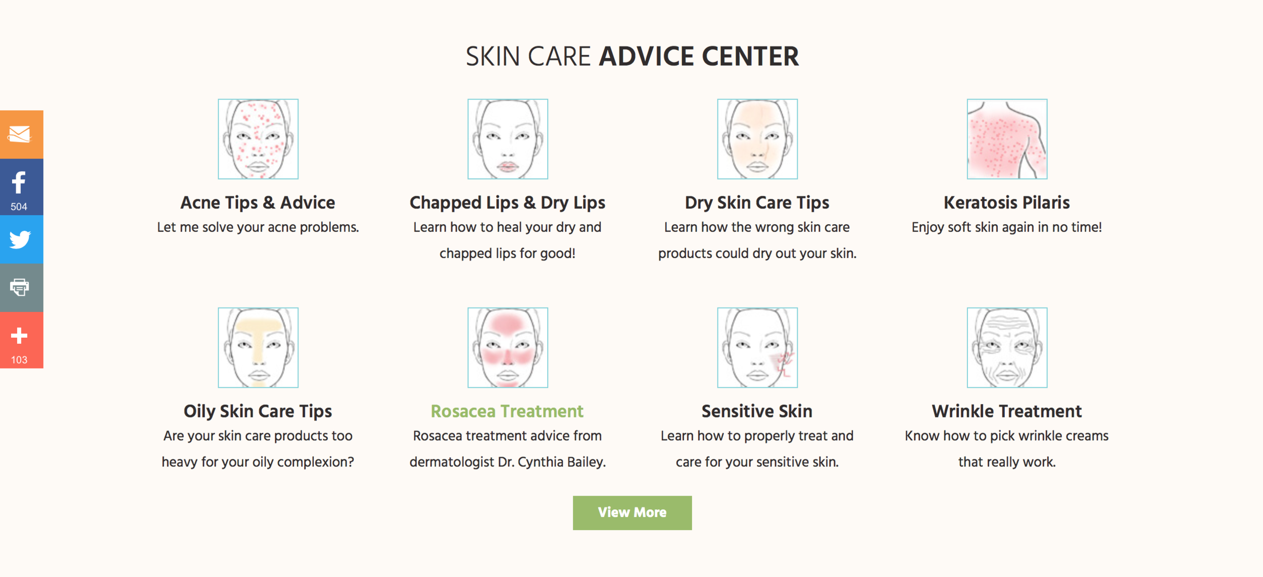 Dr. Cynthia Bailey's dermatology practice website shows common skin conditions and treatments.