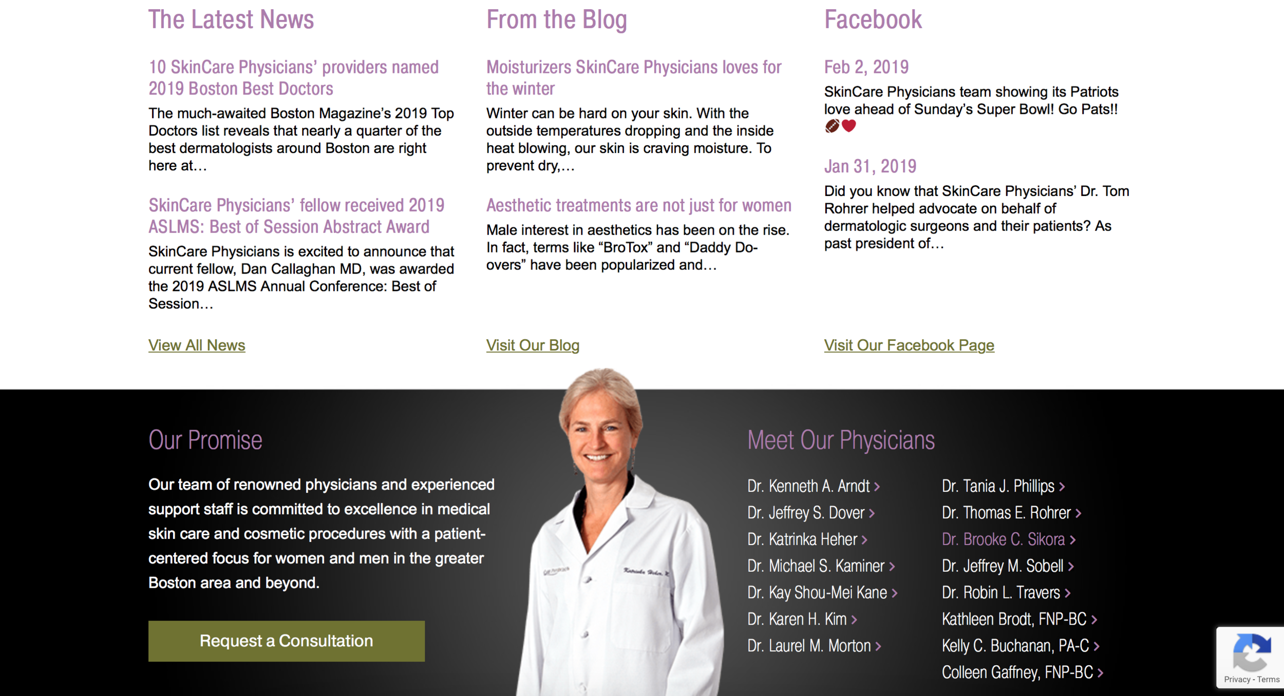 SkinCare physicians is a Best-in-Class dermatology website with good homepage modules.
