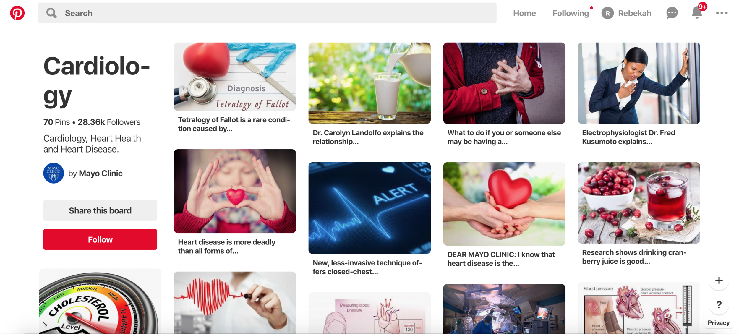 Cardiology Pinterest Board By The Mayo Clinic Shows Great Social Media