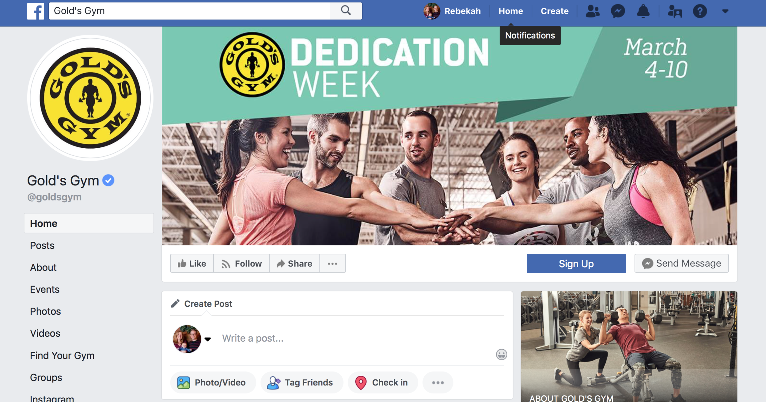 Golds Gym Facebook Marketing For Gyms