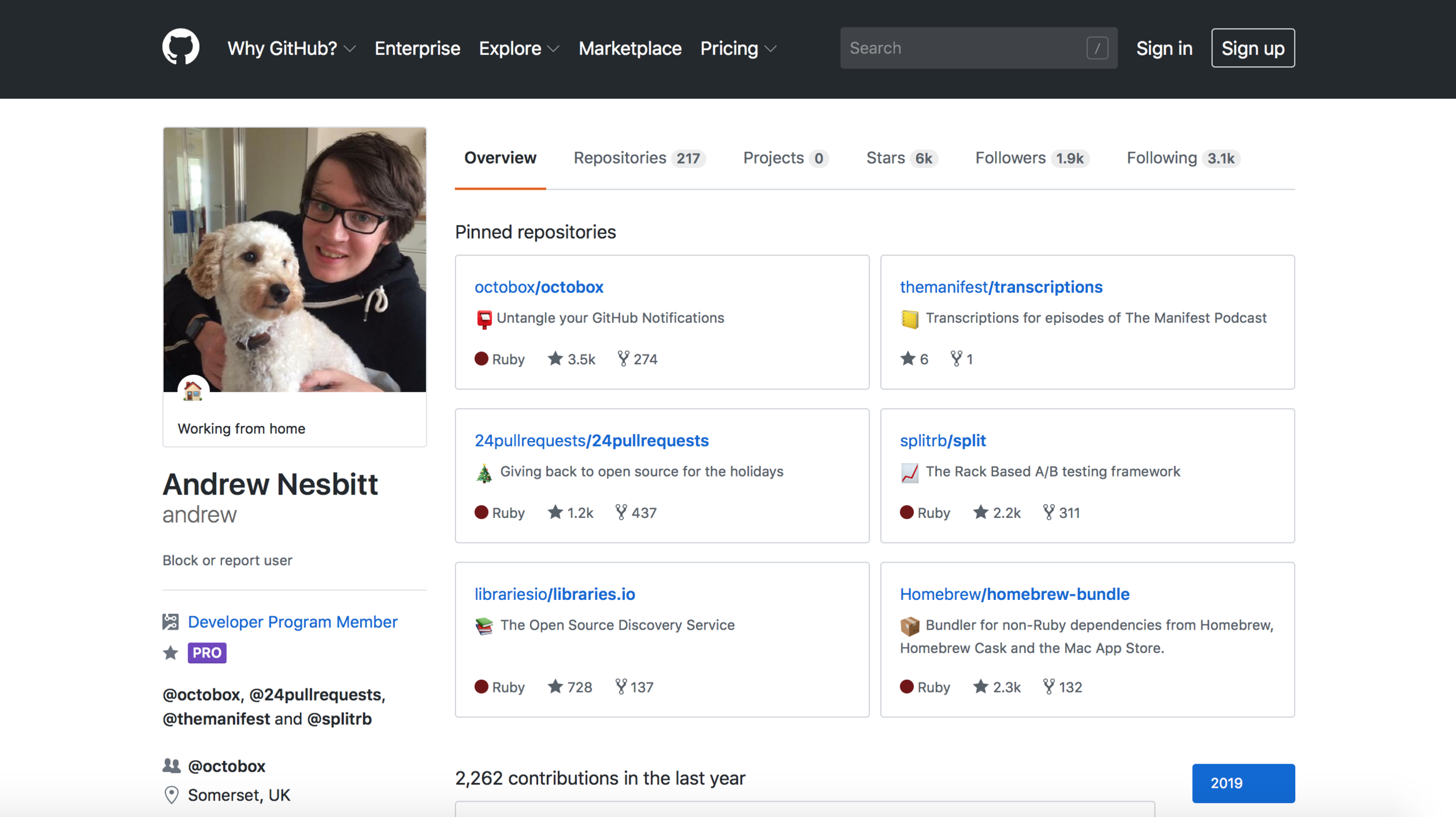 Andrew Nesbitt Most Active GitHub developers