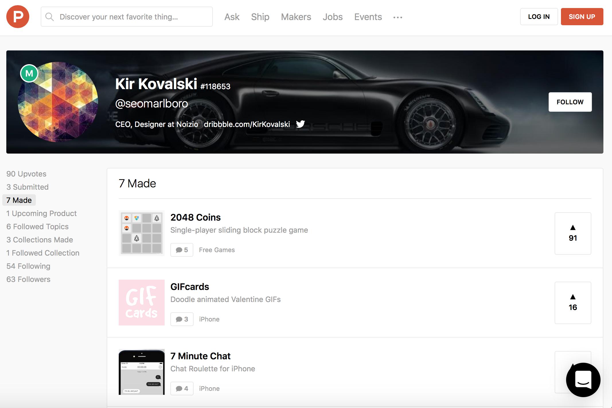 Kir Kovalski Software Makers on ProductHunt