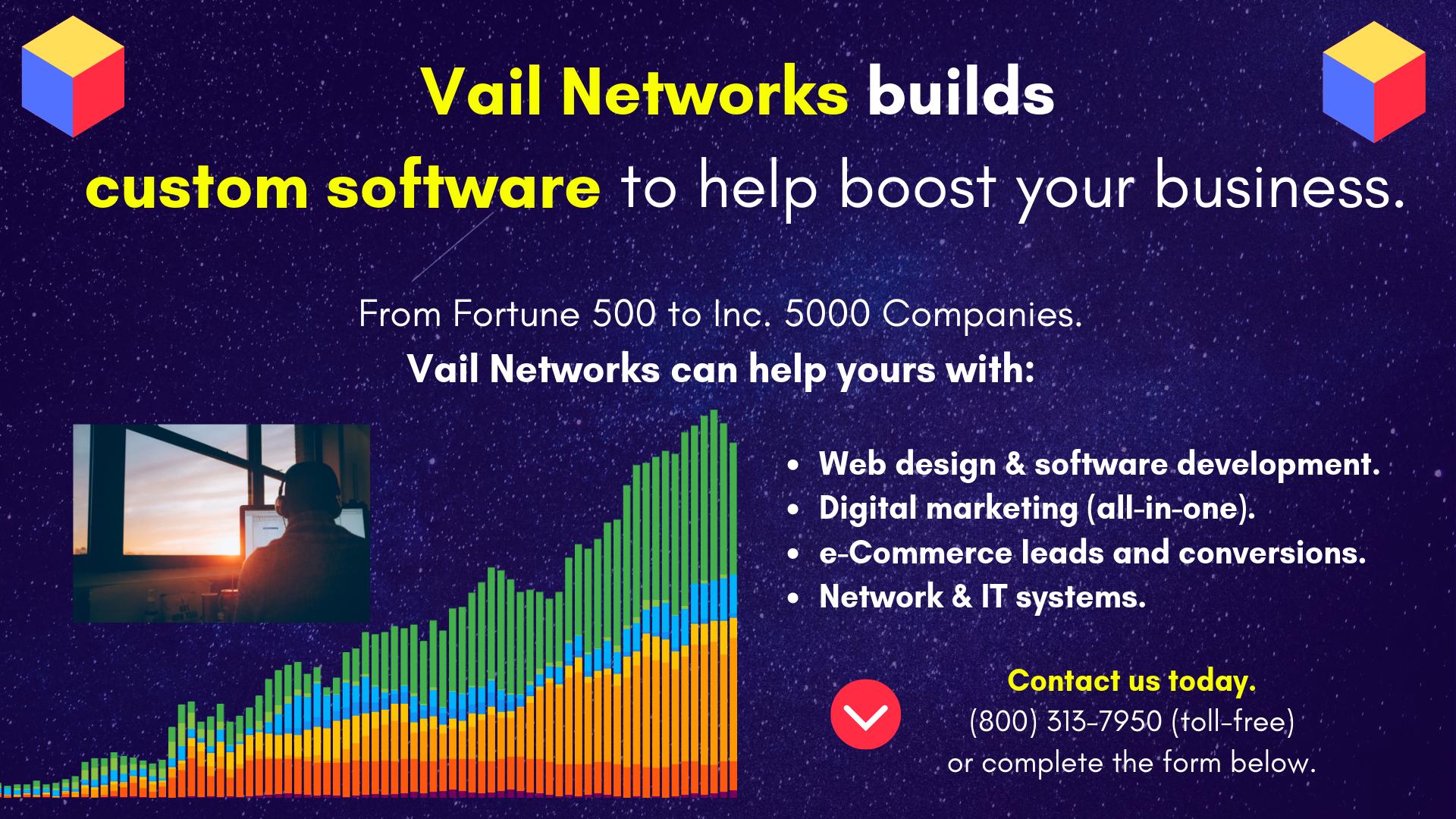 Company to help build custom software: vailnetworks.com