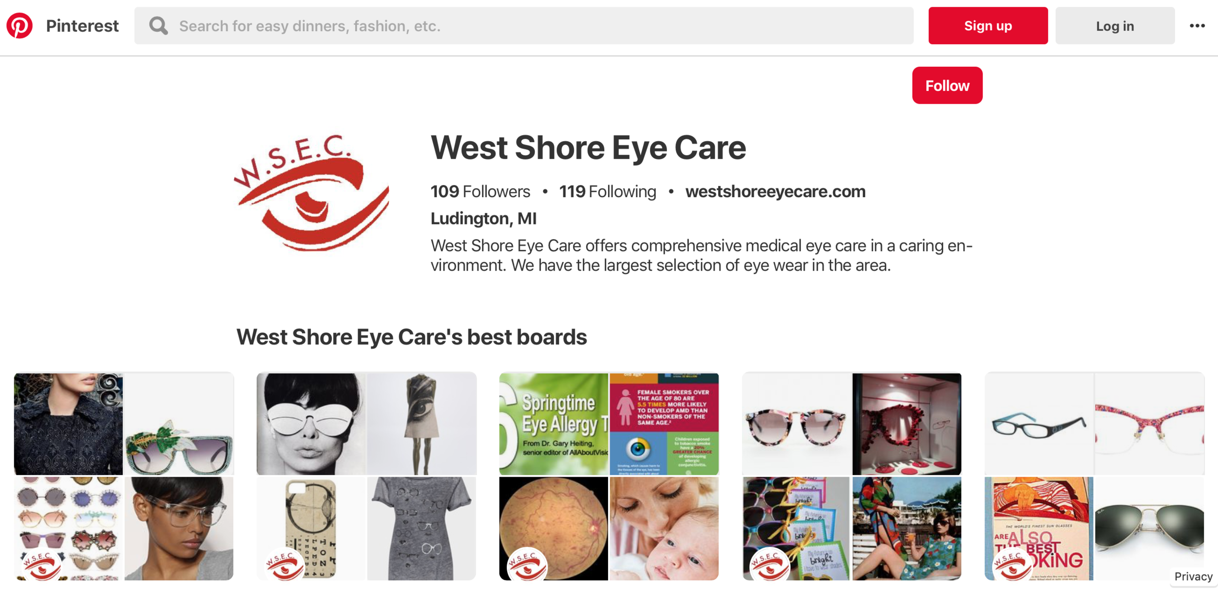 Optometrist marketing on social media for pinterest