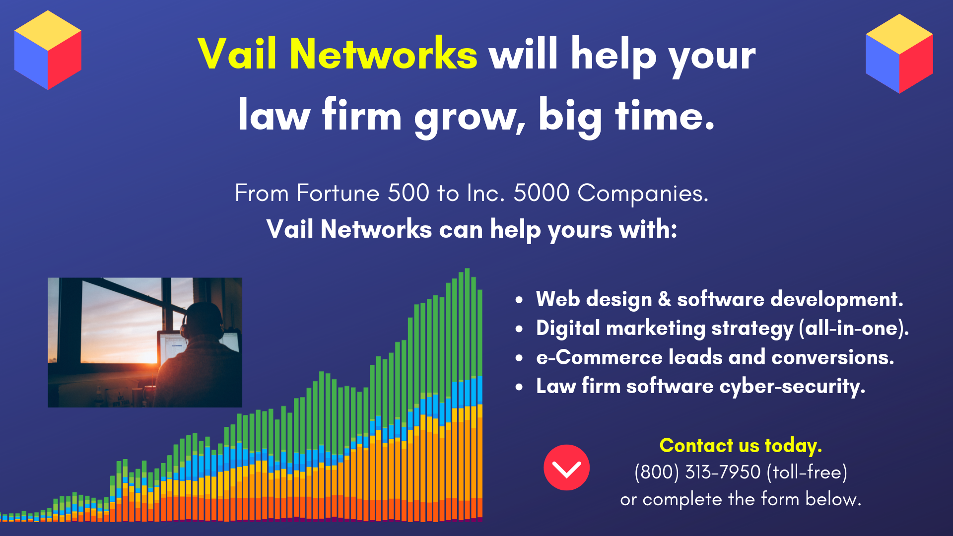 Company to help law firm and attorneys with web design, SEO, development, and marketing: vailnetworks.com