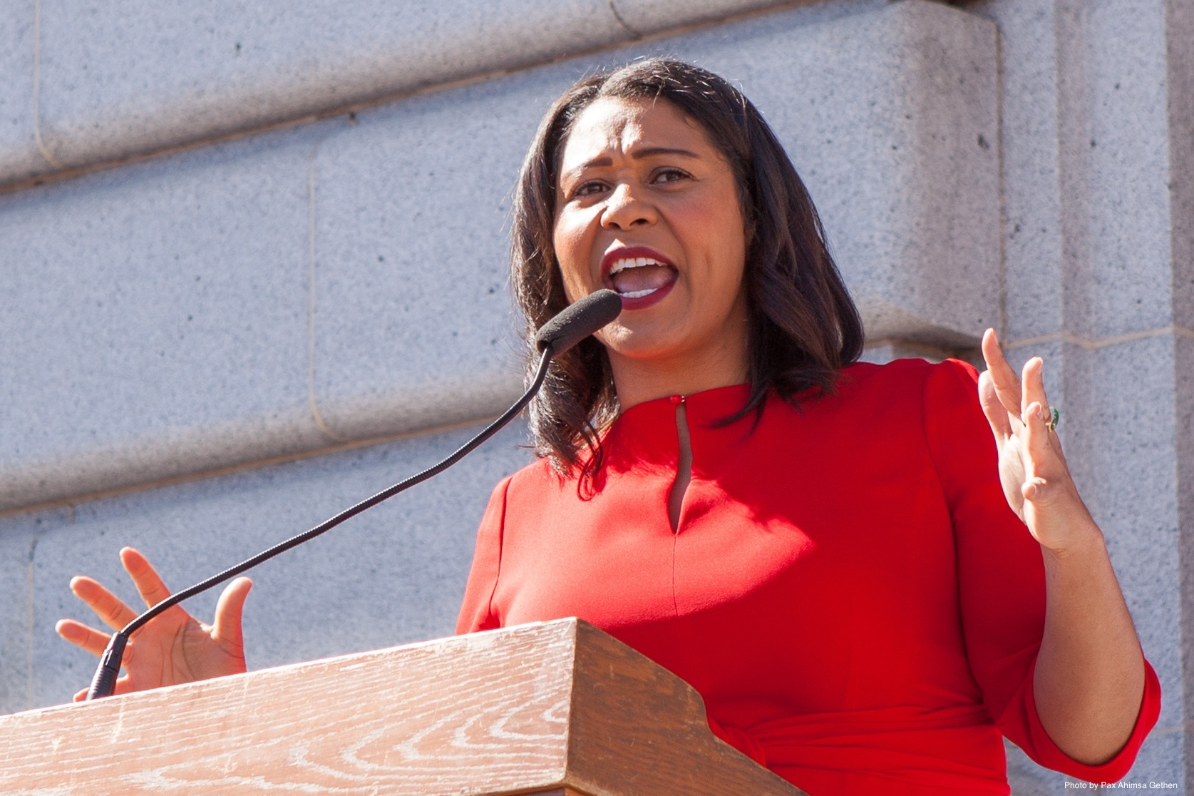 London Breed speaking at Day Without a Woman San Francisco