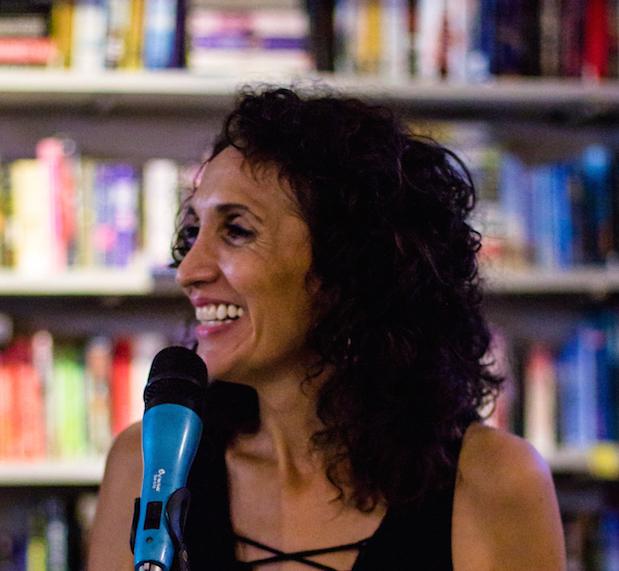 Me, Nancy Hardcastle, hosting an open mic.