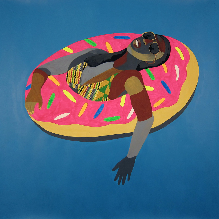 Derrick Adams, Floater 30 (pink donut). 2016