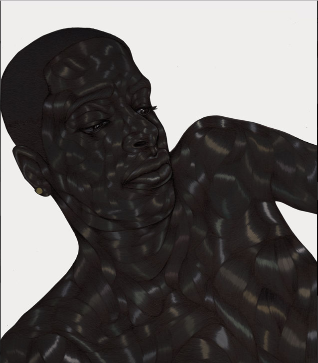 Toyin Ojih Odutola, The Act of Reading (Everything Else), 2015-2016, Pen ink, gel ink, marker and pencil on paper.