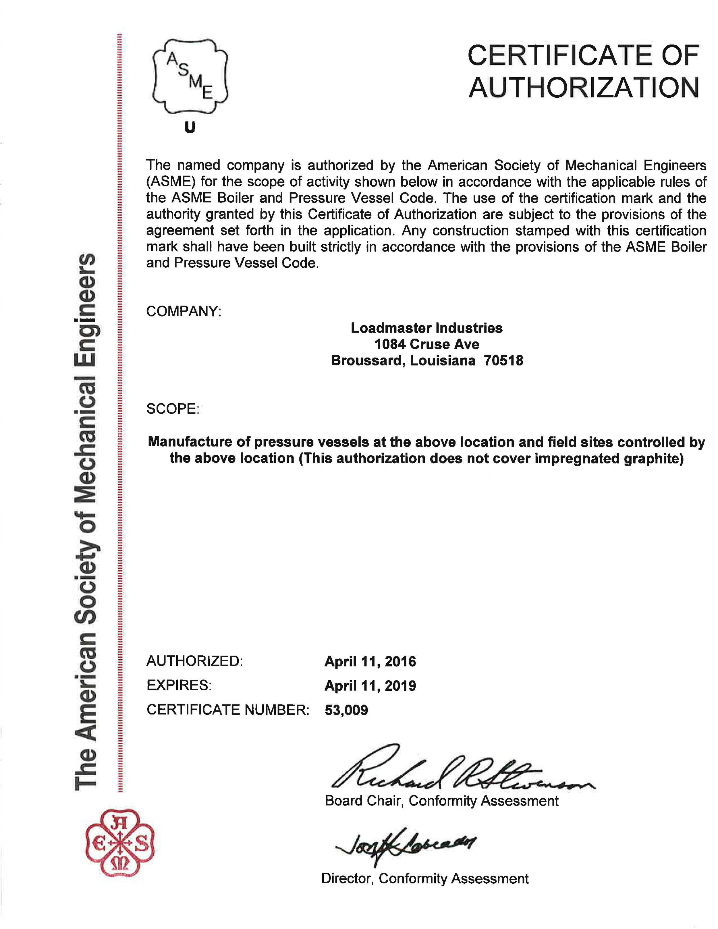 ASME Certificate of Authorization - Pressure Vessels.jpg