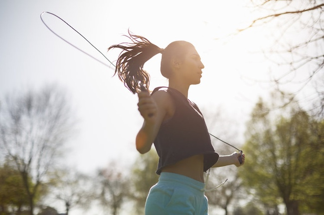 Woman Jump Roping Exercise