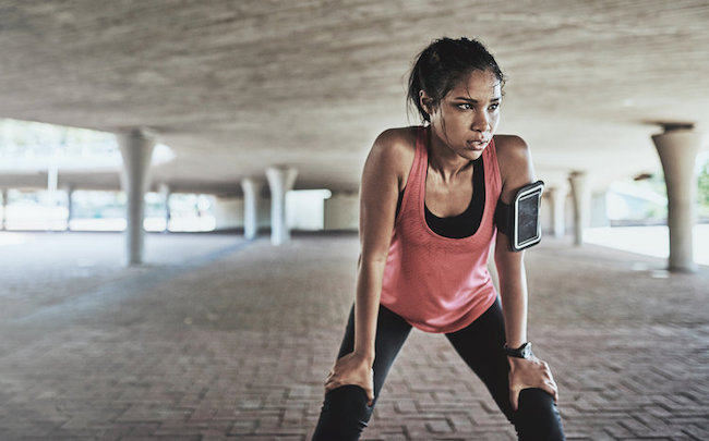 Woman Exercising and Sweating