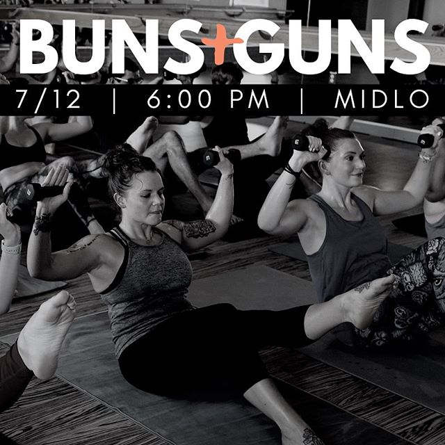 Our Midlo Friday Happy Hour series continues! Join us this Friday 7/12 at 6:00 PM for Buns and Guns, a 45-minute BURN style workout focusing on your arms and glutes 💪🏼
