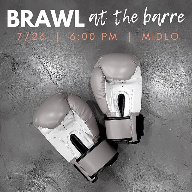 Friday Happy Hour at Midlo continues this week with Brawl at the Barre 🥊 Structured similar to BURN, this high intensity class will focus on MMA-style combination moves along with strength moves to burn, build and shred! Sign up now to reserve your spot 💥