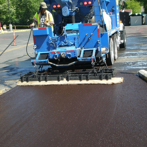 Slurry Seal - A mixture of emulsified asphalt, well-graded fine aggregate, mineral filler or other additives, and water. A slurry seal will fill minor cracks, restore a uniform surface texture, and restore friction values.