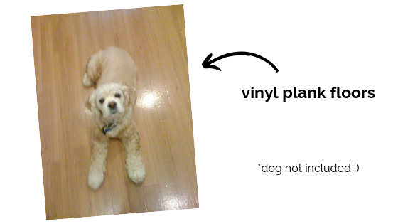 """""""My dog, Max, in 2008 on our vinyl plank flooring, and the flooring still looked great in 2016 when we sold this home."""" —Lisa Sutherland"""