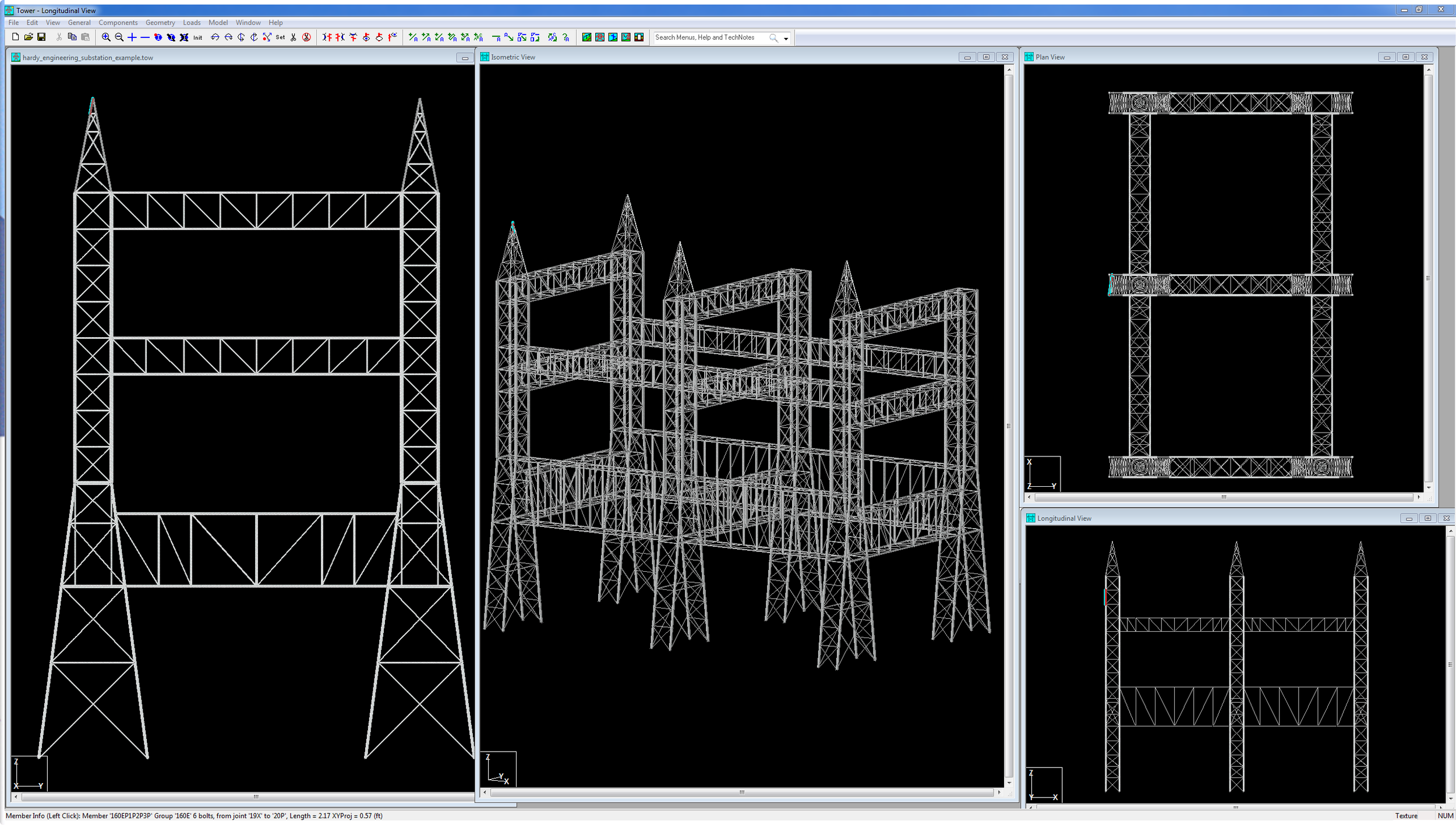 Copy of Copy of Substation modeled in TOWER for evaluation of loading from new microwave antennas. Example courtesy of Adam Kirk of Hardy Engineering.