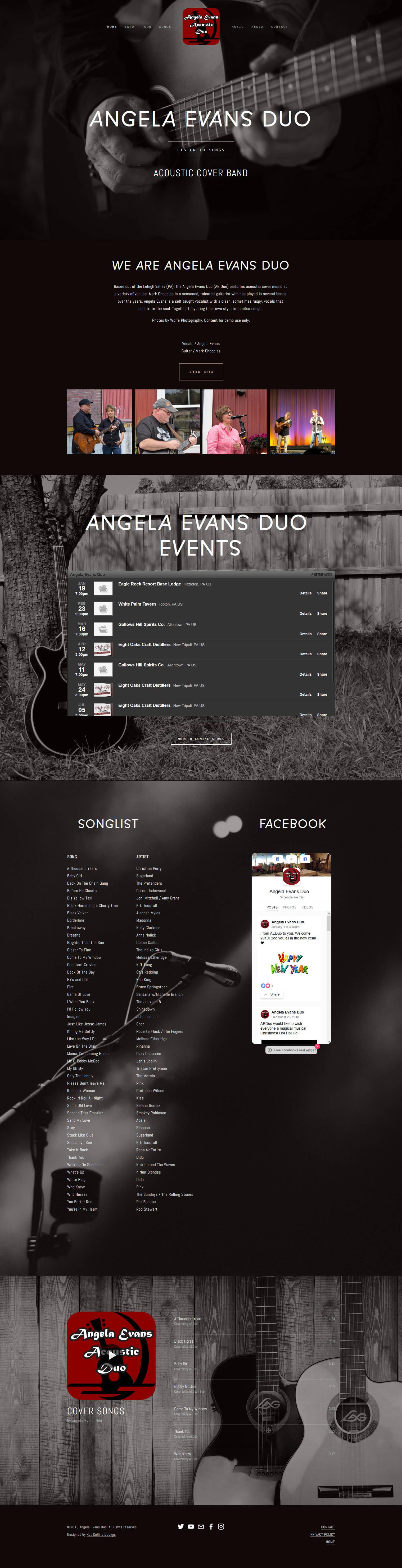 Angela Evans Duo band website design