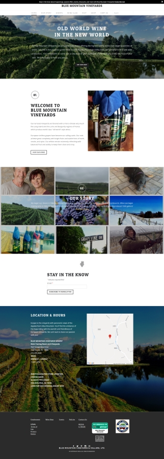 Blue Mountain Vineyards winery website design